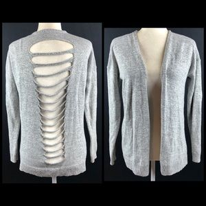 Express Gray Open Cut Out Back Cardigan